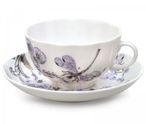 Imperial Lomonosov Porcelain Tea set Cup and Saucer Dragonfly Whisper 2pcs
