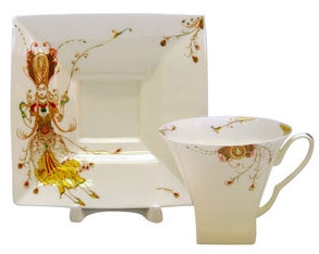 Lomonosov Imperial Porcelain Tea Set Cup and Saucer Firebird Bone China 8.45 oz/250 ml