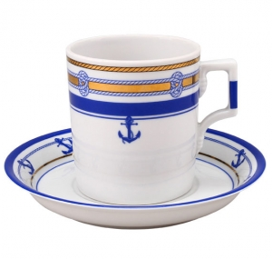 Lomonosov Imperial Porcelain Tea Set Cup and Saucer Yacht White Sea Wave v.2