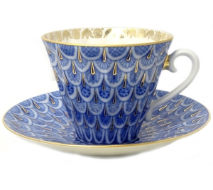 Imperial Lomonosov Porcelain Tea Set Cup and Saucer Forget me Not 2pc
