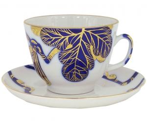 Lomonosov Imperial Porcelain Tea Set Cup and Saucer Golden Fig Tree 11.8 oz/350 ml