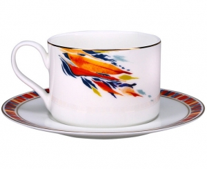 Lomonosov Imperial Porcelain Tea Set Cup and Saucer Premium Flame Flower (2) 9.1oz/270 ml