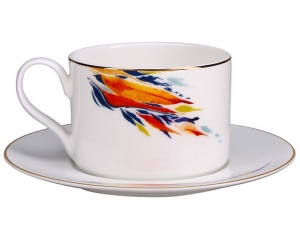 Lomonosov Imperial Porcelain Tea Set Cup and Saucer Premium Flame Flower (1) 9.1oz/270 ml