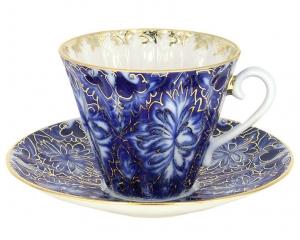 Lomonosov Imperial Porcelain Tea Set Cup and Saucer Radiant Heath Birds 7.95 oz/235ml