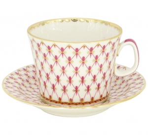 Lomonosov Imperial Porcelain Cup and Saucer Red Net
