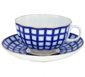 Imperial Lomonosov Porcelain Tea Set Cup and Saucer Cobalt Cell