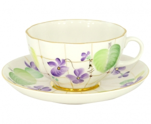 Lomonosov Imperial Porcelain Tea Set Cup and Saucer Tulip Forest Violet 8.5 oz/250 ml