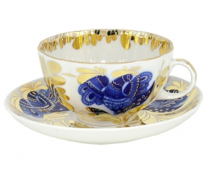 Imperial Lomonosov Porcelain Tea Set Cup and Saucer Golden Garden