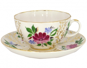 Lomonosov Imperial Porcelain Tea Set Cup and Saucer Tulip Golden Grasses 8.45 oz/250 ml