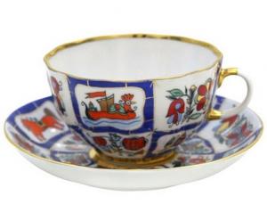 Lomonosov Imperial Porcelain Tea Set Cup and Saucer Tulip Russian Lubok 8.45 oz/250 ml