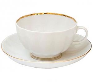Lomonosov Imperial Porcelain Tea Set Cup and Saucer Tulip Snow White 8.45 oz/250 ml
