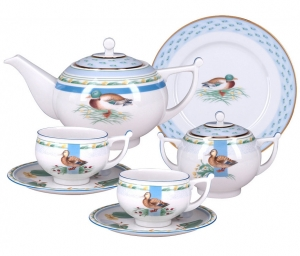 Lomonosov Imperial Porcelain Tea Set 20 items Ducks in Backwater