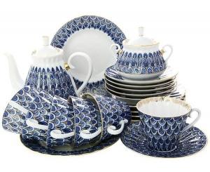 Lomonosov Imperial Porcelain Tea Set Forget Me Not 6/21