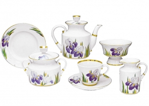 Lomonosov Imperial Porcelain Tea Set Iris 6/20