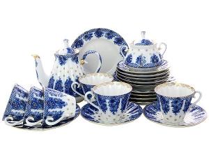 Lomonosov Imperial Porcelain Tea Set Radiant Basket 6/21