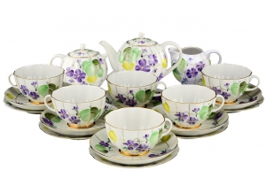 Lomonosov Imperial Porcelain Tea Set Tulip Forest Violets 6/21