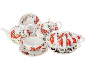 Lomonosov Imperial Porcelain Tea Set Tulip Red Butterflies 6/20