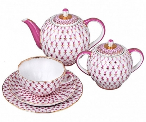 Lomonosov Imperial Porcelain Tea Set Tulip Red Net Blues 6/20