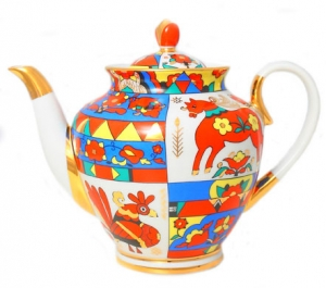 Lomonosov Imperial Porcelain Teapot Spring Folk Pattern 10 Cups 67.6 oz/2000 ml