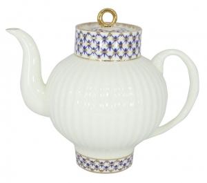 Lomonosov Imperial Porcelain Bone China Tea Pot Wave Cobalt Net 27 fl.oz/800 ml