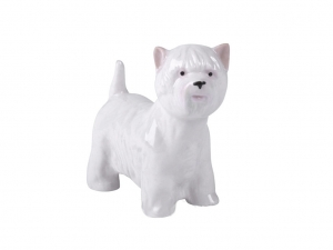 Terrier Dog West Highland White Colored Lomonosov Porcelain Figurine