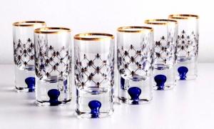 Imperial Porcelain Factory Vodka Shot Glass 1 fl.oz Set 6 pc Cobalt Net