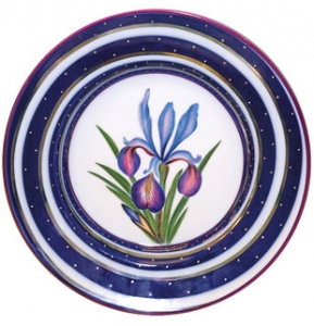 Decorative Wall Plate Iris Flower 9.4