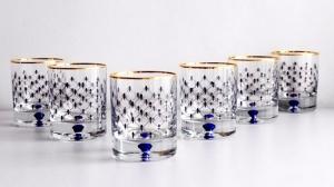 Imperial Porcelain Factory Whiskey Glass 8.5 fl.oz Set 6 pc Cobalt Net