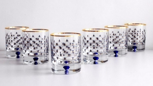 Lomonosov Porcelain Whiskey Glass 8.5 fl.oz Set 6 pc Cobalt Net