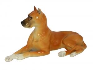 Great Dane Dog Red Colored Lomonosov Porcelain Figurine