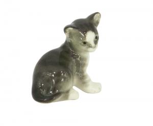 Kitten Cat Gray Lomonosov Imperial Porcelain Figurine