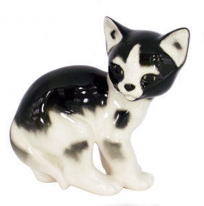 Cat Kitty Black and White Spotted Lomonosov Imperial Porcelain Figurine