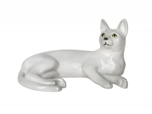 Snow White Domestic Cat Lomonosov Porcelain Figurine