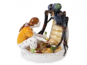 In the Sandbox Lomonosov Imperial Porcelain Sculpture Figurine