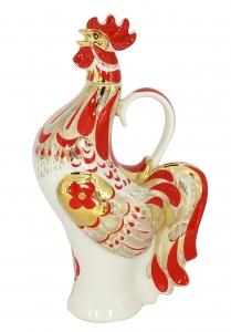 Lomonosov Imperial Porcelain Whiskey/Vodka Decanter Red Rooster 17 oz/500 ml