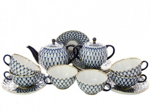 Lomonosov Imperial Porcelain Tulip Cobalt Net Tea Set 6/16