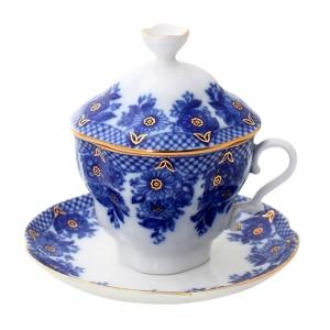 Lomonosov Porcelain Covered Cup Set Gift-2 Basket 8.45 oz/250 ml