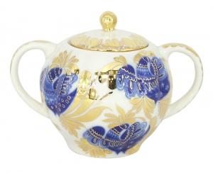 Lomonosov Imperial Porcelain Sugar Bowl Tulip Golden Garden 15 oz/450 ml