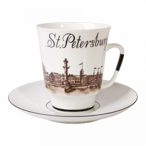 Lomonosov Porcelain Bone China Cup and Saucer May Good-bye St.-Petersburg 5.6 fl.oz/165 ml 2 pc