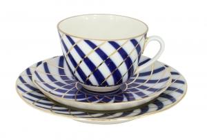 Lomonosov Imperial Porcelain Tea Cup Set 3pc Spring Todes 7.8 oz/230 ml
