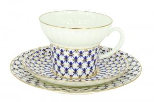 Imperial Lomonosov Porcelain Bone China Tea Set Wave Cobalt Net  5.24 fl.oz/155ml 3pc