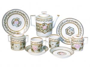 Lomonosov Imperial Porcelain Jade Background Tea set 6/20