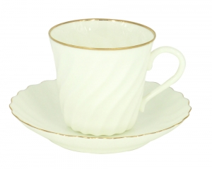 Lomonosov Imperial Bone China Twist Tea Cup and Saucer Golden Edge 5.24 fl.oz/155ml
