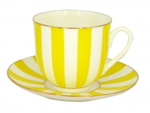 Lomonosov Porcelain Yes and No YELLOW Bone China Espresso Coffee Cup and Saucer 6 oz/180 ml