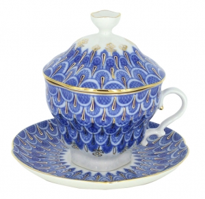 Lomonosov Porcelain Covered Cup Set Gift-2 Forget Me Not 8.45 oz/250 ml