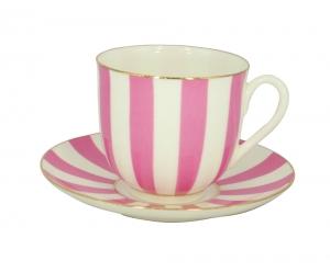 Lomonosov Porcelain Yes and No PINK Bone China Espresso Coffee Cup and Saucer 6 oz/180 ml