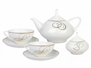 Lomonosov Porcelain Bone China Dome Golden Curls Tea Set Service 14 items
