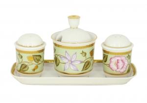 Lomonosov Imperial Porcelain Salt Pepper Spice Set 4 pc Jade Background