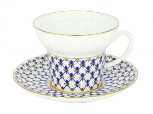 Imperial Porcelain  Bone China Tea Cup and Saucer Cobalt Net Wave 5,24 oz/155 ml