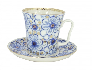 Lomonosov Porcelain Mug and Saucer Leningradskii Bindweed 12.2 fl.oz/360 ml